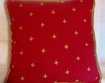 Country French Fleur De Lis Pillow Cottage Red Gold Provence Paris Parisian