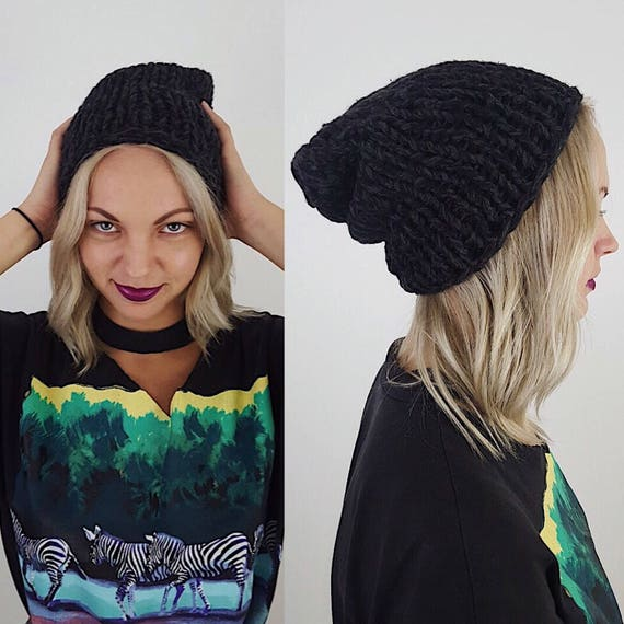 Handknit Handmade Black Slouchy Hat - Boho Hipster Art Fashion Style Unique Womens Accessory - Soft Warm Winter Fall Upcycled Yarn Beanie