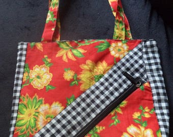 fancy zipper pouch bag polyester floral of superb quality