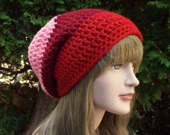 Red and Pink Slouchy Beanie, Womens Crochet Hat, Slouchy Hat, Oversized Slouchy Beanie, Chunky Hat, Baggy Beanie, Winter Hat, Slouch Hat