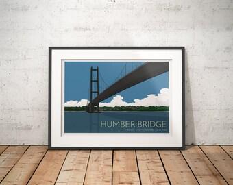 Humber Bridge, Hessle, East Yorkshire, England, UK - signed travel print