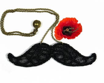 Necklace retro mustache black guipure lace