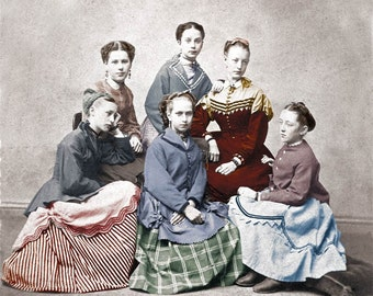 1870 Little Women Hand Tinted Photographic Print