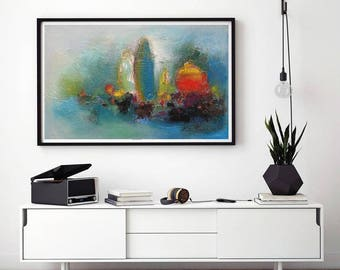 Turquoise and Orange still life art print from my original,Modern Contemporary Abstract painting, Bold and Bright art, Vibrant paintings