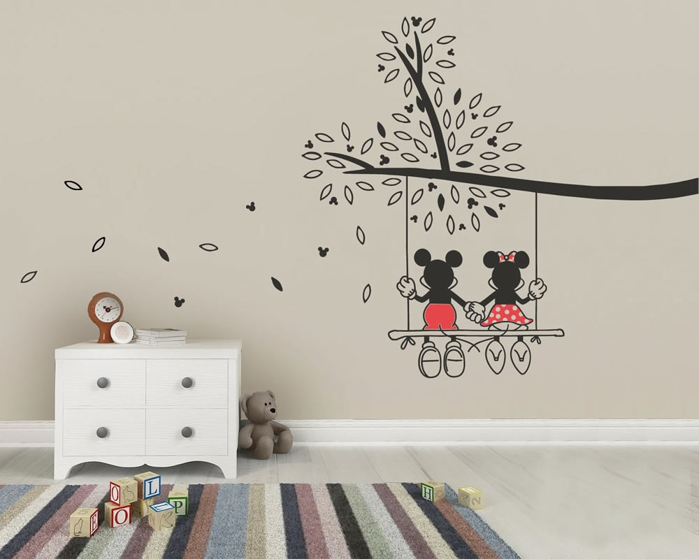 Mickey mouse minnie tree swing wall sticker wall art decal zoom amipublicfo Image collections