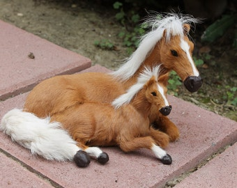 Brown Horse Family Furry Animal Sitting Figurine Mythical Tan Pony Medium
