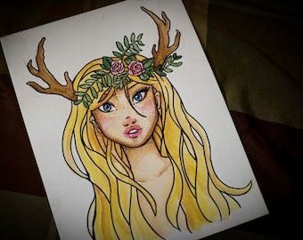 Blond Faun Girl Watercolor