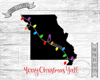 Merry Christmas Y'all Missouri Christmas Lights SVG / Merry Christmas Y'all Cut File and Printable / Commercial Use
