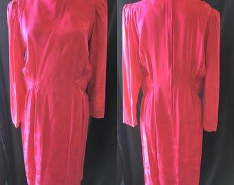 Mod retro raspberry silk dress 1980 medium large