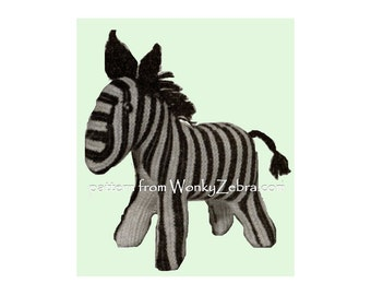 Vintage toy Knitted ZEBRA knitting Pattern PDF 568 from WonkyZebra