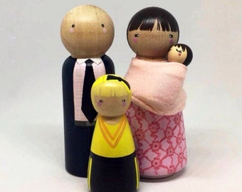 Custom Peg Doll Family of 4 // 2 Adults, 1 Child/Pet, 1 Baby in Carrier