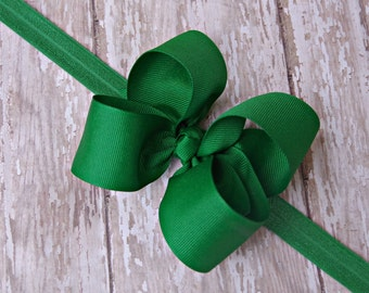 Boutique Emerald Green Headband Toddler Hair Bow Bowband Baby Green Headband Big Bow Headband New Baby Gift Christmas Headband