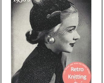 1950s Hat and Scarf Vintage Knitting Pattern  - PDF Knitting Pattern - PDF Instant Download