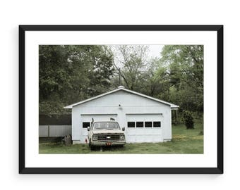 White Chevy Rural America  Print, Color Photo, Landscape Photography, Wall Art Decor
