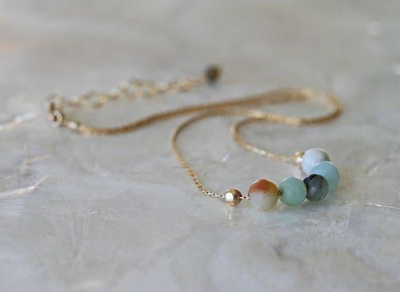 Amazonite Necklace, Choker Necklace, Short Necklace, Layering Necklace, Turquoise Necklace, Natural Gemstone Necklace, Unpolished Gemstone