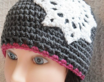 Snowflake Crocheted Hat Beanie Charcoal Grey Sparkle White Pink Womens Cap by Distinctly Daisy