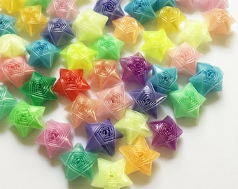 Origami Lucky Stars | Plastic Straw Stars | Rainbow Mixed Handmade Folded Wishing Star | Thanksgiving Christmas Decoration Confetti ST12
