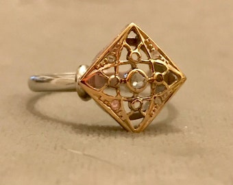 Sale!  Was 135 now 115!  Art Deco 14K White & Yellow Gold and Diamond Ring