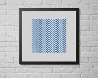 Blue chevron (cross stitch pattern)