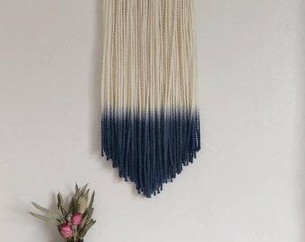 Navy dip dye chunky yarn wall hanging