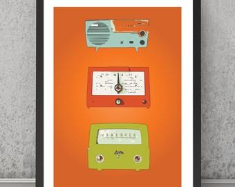 Radio print Radio poster, Radio art Radio wall decor Retro print, Retro poster Vintage radio print Vintage radios art A4 print, A3 print