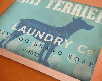 Rat Terrier  Laundry Company illustration graphic art on canvas panel  by stephen fowler