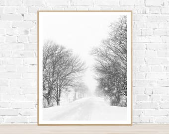 Winter Road instant digital download black & white photograph