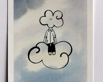 Head in clouds - handmade - illustration - dream - sky - pen drawing - watercolor - gift - home decor