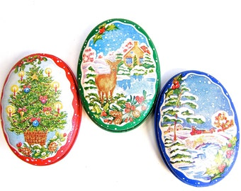 Vintage Christmas Candles, Lillian Vernon 1980s, Set of Three Candles in a Tin, Made in Hong Kong, Decorative Oval Tin