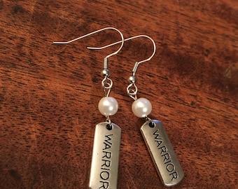 """Earrings - Handmade - White Pearl Beads """"Warrior"""""""