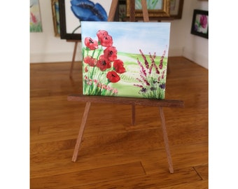 Dolls House wildflower landscape Painting Original Art shown on display here in my own 1:12 Art Gallery