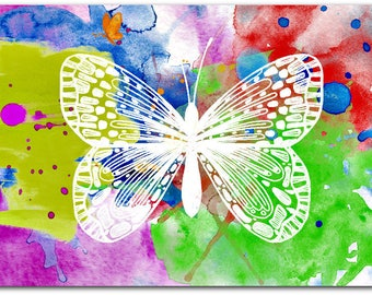 White Butterfly 21cm x 15cm greeting card