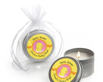 Duck Candle Tin - Pink Ducky Duck - Girl Baby Shower or Birthday Party Favors - Set of 12