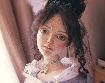 Blue Royal OOAK Art Doll Collection static doll 120 cm one-of-a-kind antique style sculpture of a girl by Natalia Fontanel