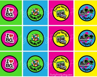 INSTANT DOWNLOAD - Printable 80's  - Cupcake Toppers - Tags