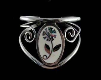 Vintage Abalone Mosaic Mexico Sterling Silver Cuff