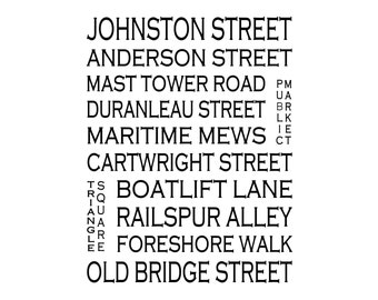 Granville Island Vancouver B.C. - Love This Place Street Name Art Print on Paper - Customize With Your Street - Home Decor TheJitterbugShop
