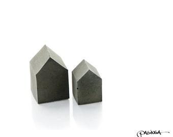 concrete house set of two quirky black beton cement house concrete decor modern