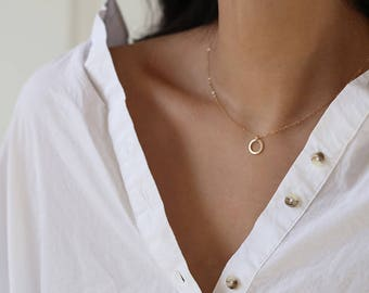 14K Gold Thin Circle Necklace // Jewelry gift for her // 14K Solid by E&E PROJECT