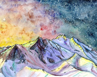 Starry sky over Mount Jefferson / archival print / 7x10 inches / Mountains / Oregon