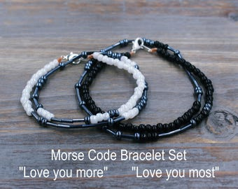 Love You More Love You Most Bracelet Set for Couples / Matching Bracelet for Couples / Boyfriend Girlfriend Jewelry / Love You More Bracelet
