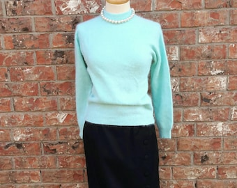 Vintage 50s Sweater Pinup Rockabilly Power Blue Lambs Wool & Rabbit Fur Fibers Made in Hong Kong