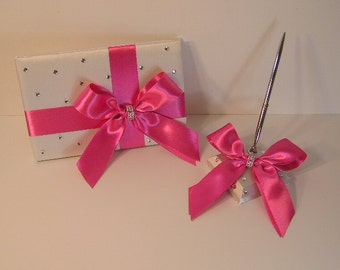 Wedding Guest Book and pen holder set White and Hot pink -made to order ,Custom Made