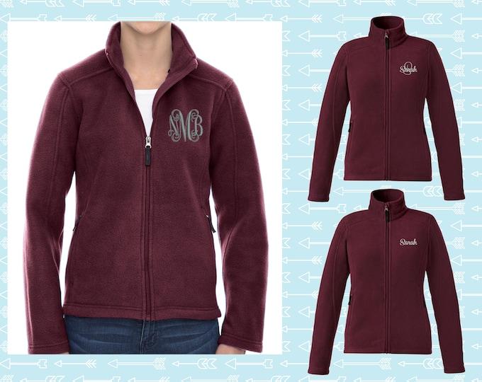 Monogrammed Fleece Jacket, Full Zip Womens Jacket, Christmas Gift for Her, Personalized Coat, Womens Fleece Jacket