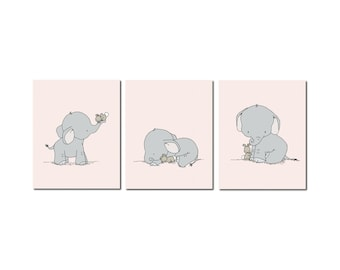Elephant Nursery Art, Elephant and Bunny Nursery Art, Pink and Gray Nursery Decor, Set of 3 Prints, Kids Wall Art