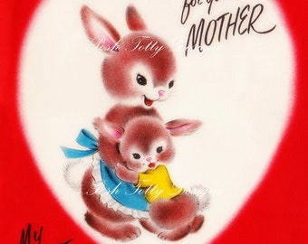 A Valentine For You Mother 1940s Vintage Greetings Card Digital Download Printable Image (347)