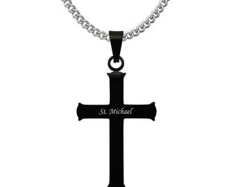 Black cross pendant etsy black cross necklace mens stainless steel black plated cross pendant necklacepersonalized cross necklace aloadofball Image collections