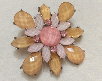 Faceted acrylic pink yellow whitw rhinestones floral brooch pin.