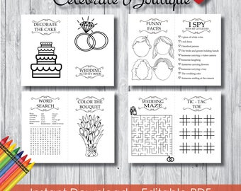 Wedding Coloring Book For Kids Editable Activity Instant Download Childrens