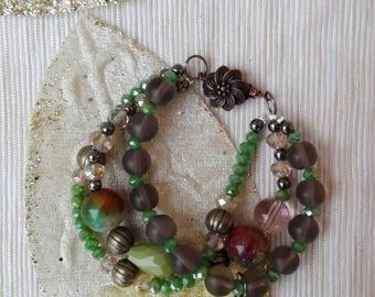 Crystal Bracelet. Boho bracelet, green agate bracelet, beaded bracelet, crystal bracelet, green bracelet. Gift for You